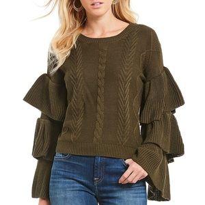 Elan Tiered Ruffle Bell Sleeve Sweater Womens